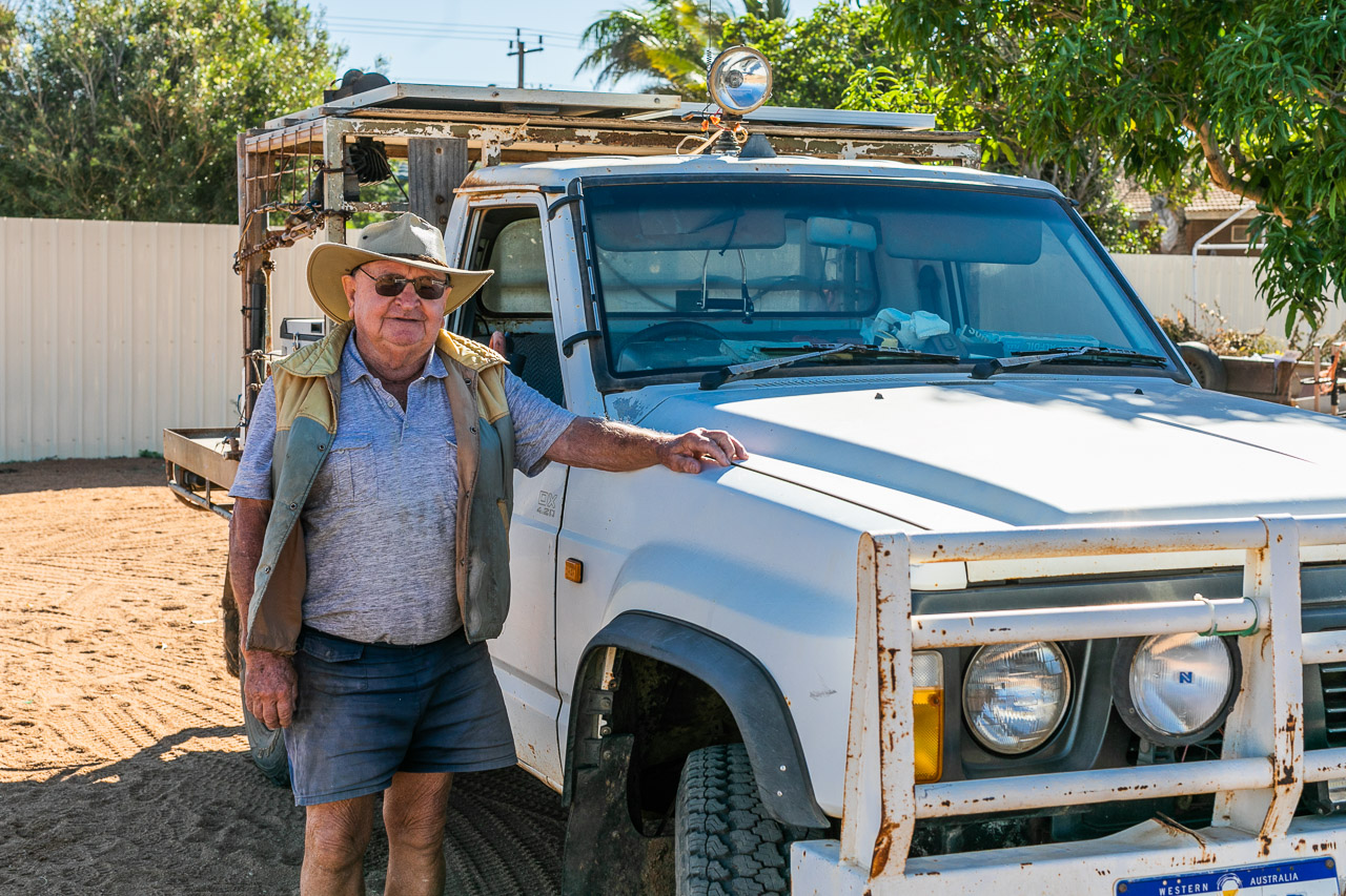 Retired roo shooter with is roo shooting truck with spotlights