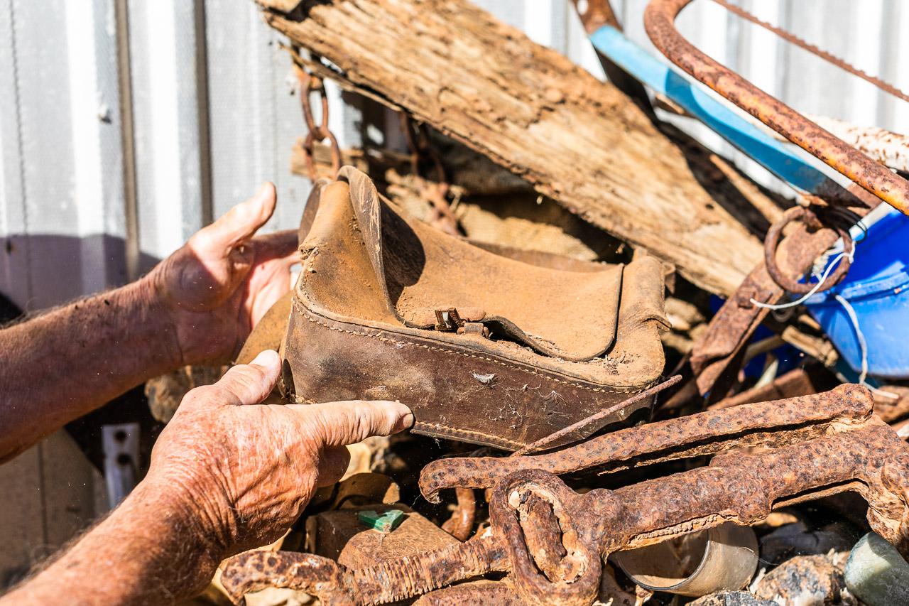 Old leather stockman's saddlebag