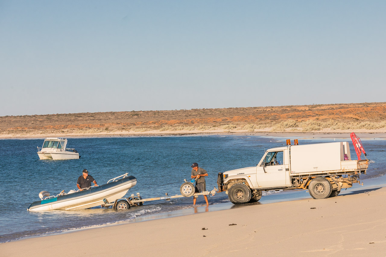Towing a boat out of the water at Gnaraloo Bay