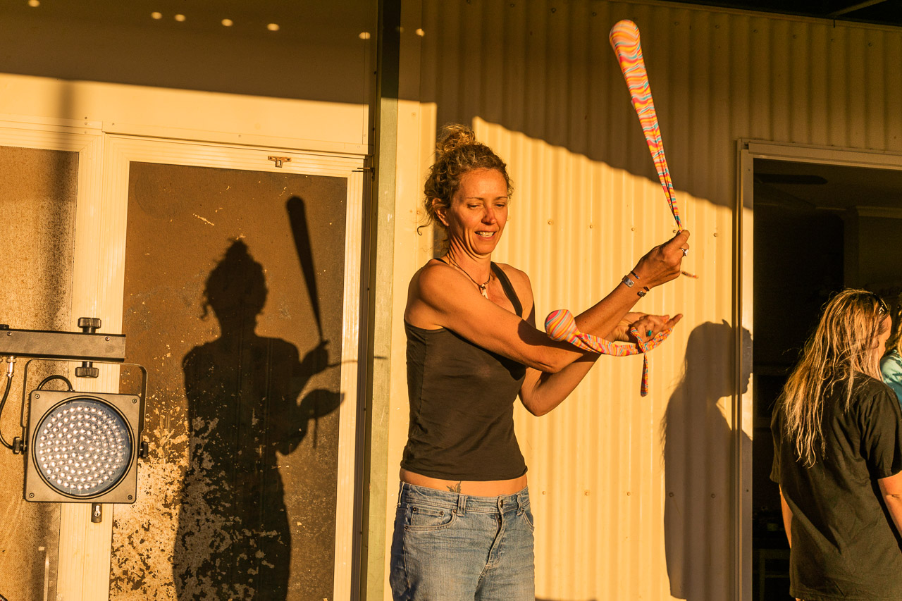 Fiona Jol rehearsing for her fire twirling act with Gascoyne in May