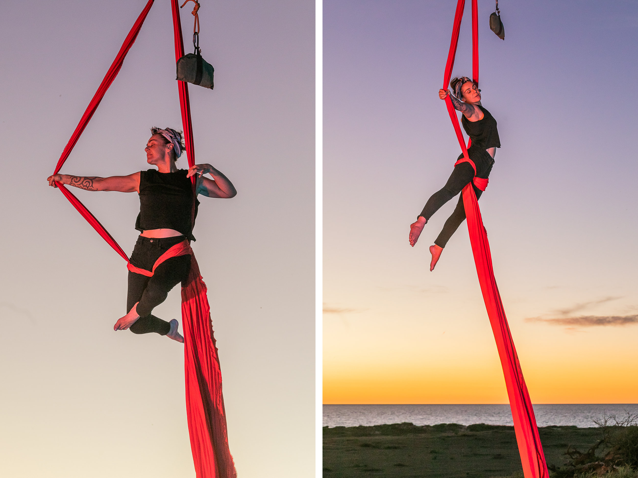 Aerialist performer Theaker von Ziarno rehearsing at Dudley House, Warroora Station at sunset