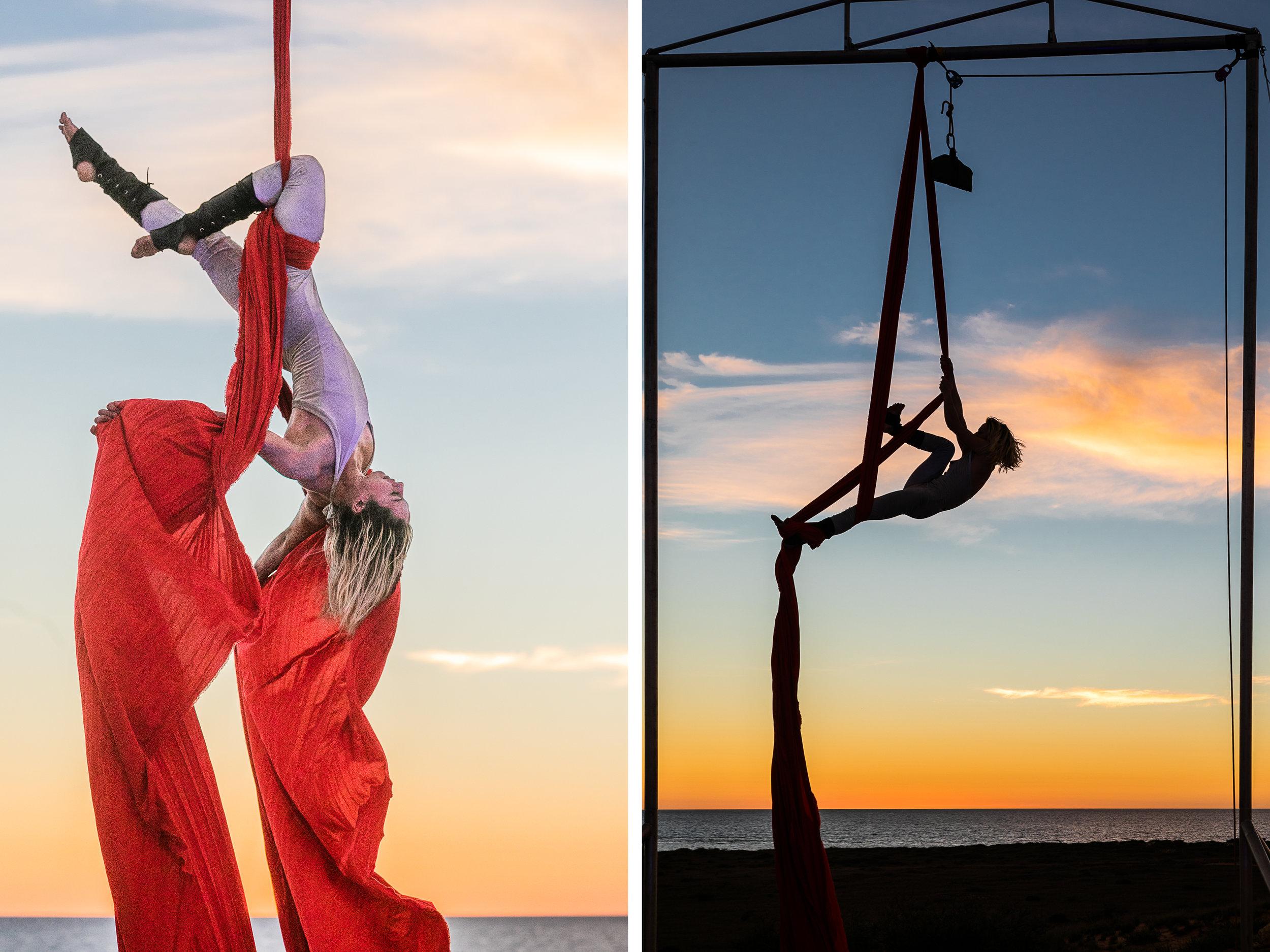Aerialist Jade Mills rehearsing at sunset