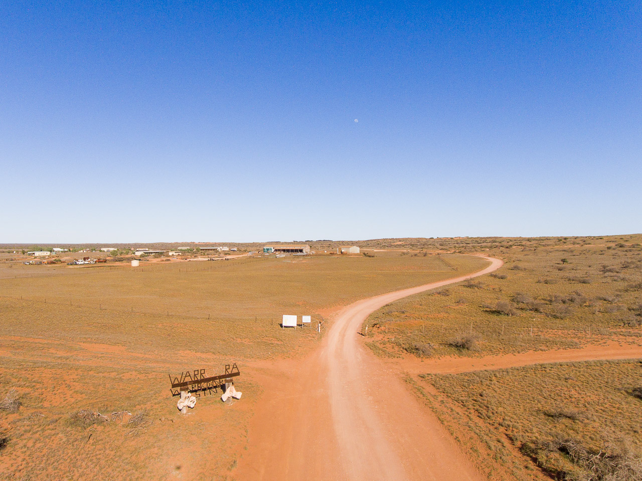 Aerial image of the homestead and station buildings at Warroora, WA