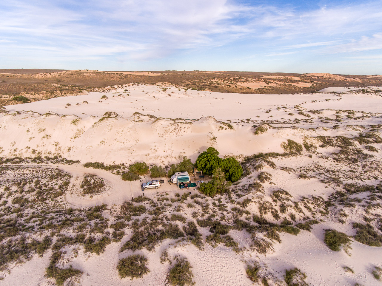 Drone image of wilderness camping on the north west coast of Australia