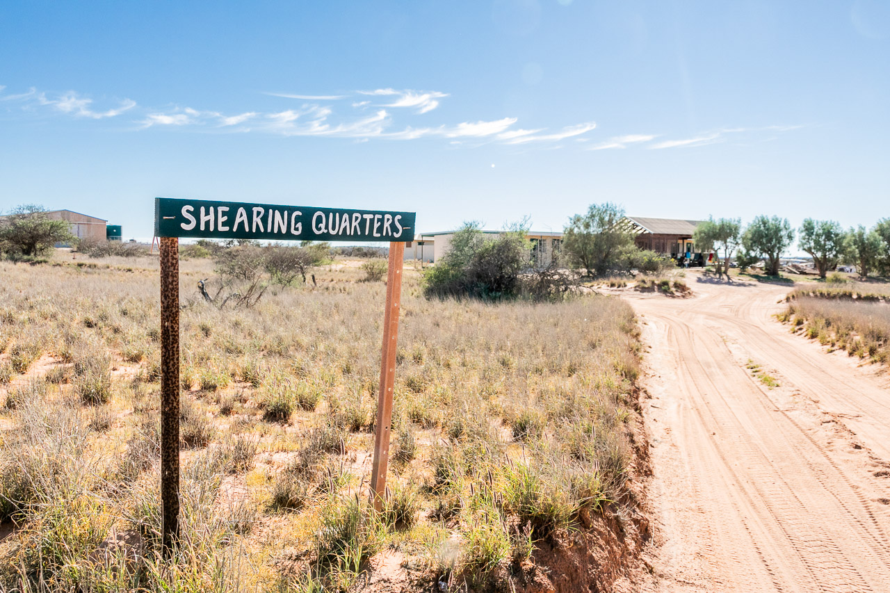 Sign to the shearers' quarters at Warroora Station