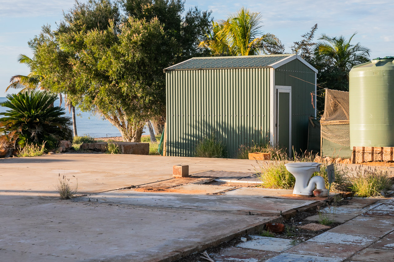 The concrete pad and toilet - all that was left after a cyclone