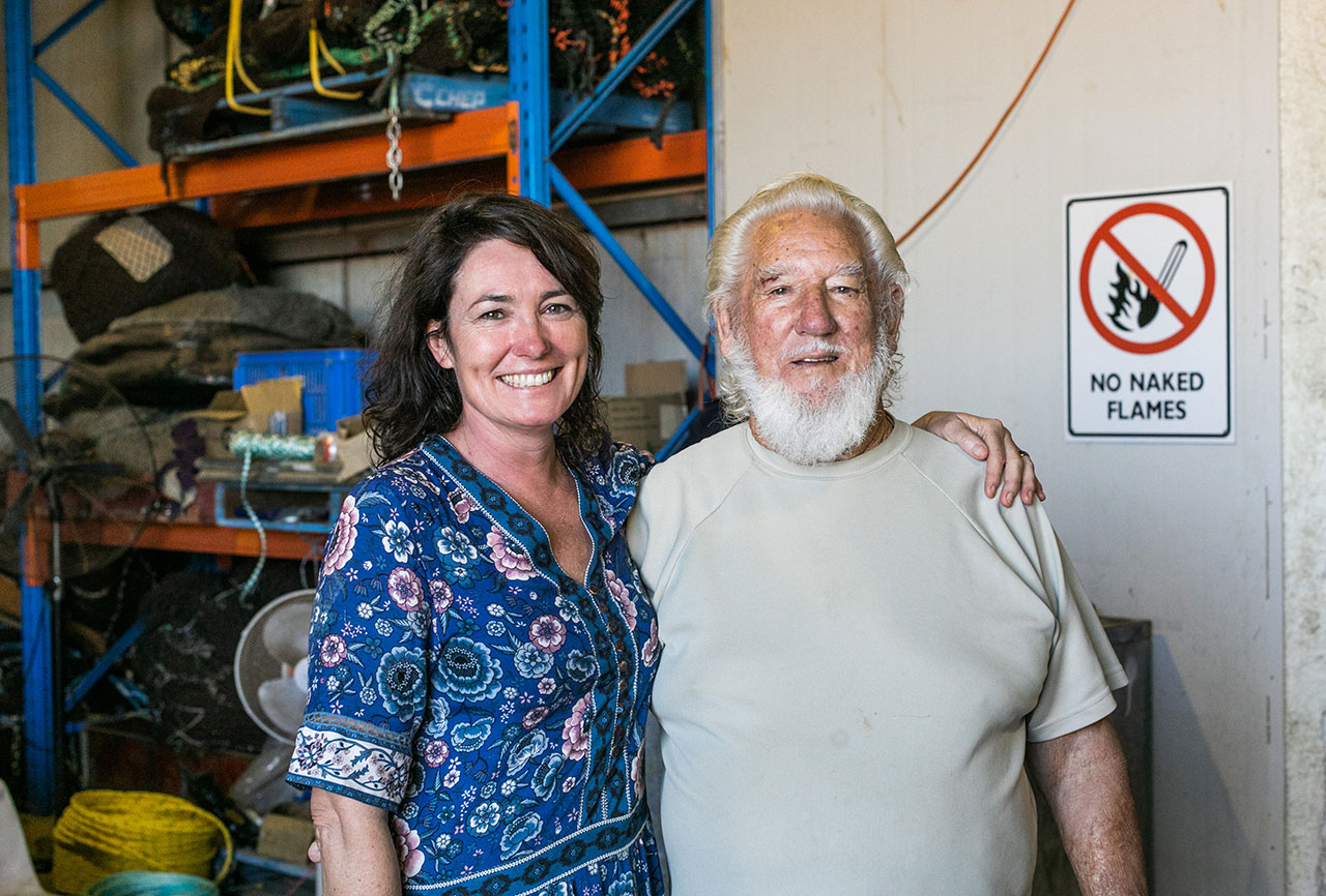 Anna Gare with long-time prawn boat skipper Pancho Ridley at K-Town - the MG Kailis Exmouth Prawns headquarters at Learmonth