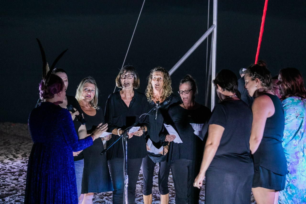 The community choir performs with Gascoyne in May at the Ningaloo Whale Shark Festival