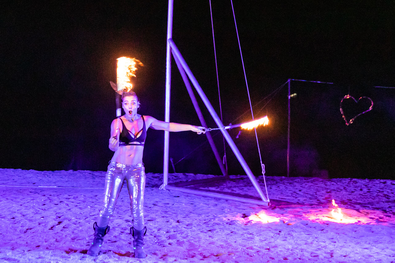 Theaker von Ziarno performing with fire at the Ningaloo Whale Shark Festival