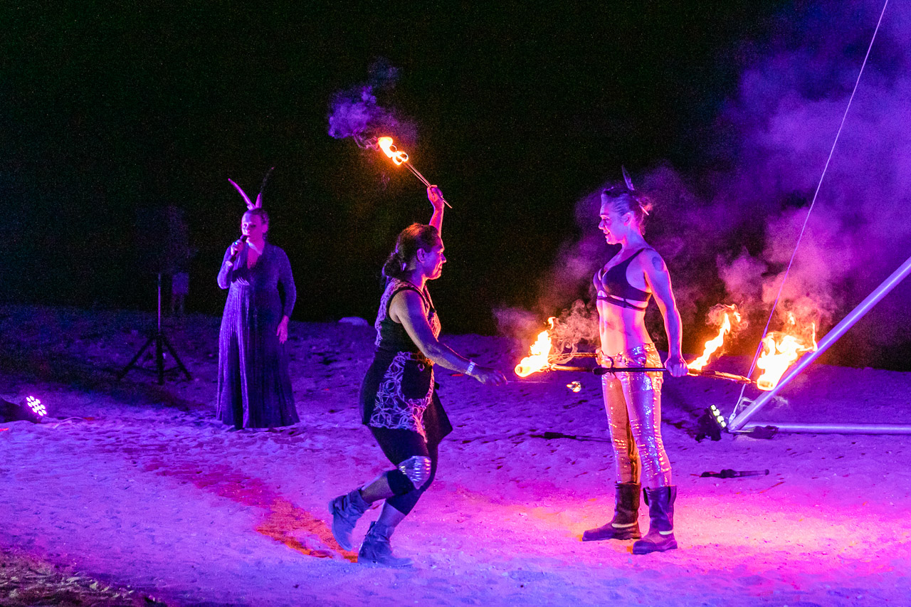 Aria Scarlett, Janine Oxenham and Theaker von Ziarno of Gascoyne in May performing at the Ningaloo Whale Shark Festival