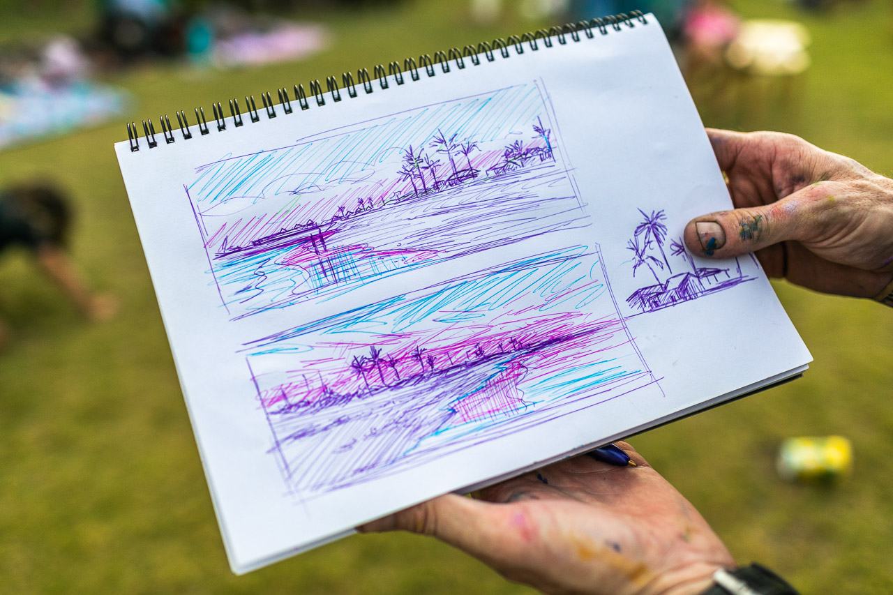 Phil Doncon's sketches for his artwork on the final night of the Ningaloo Whale Shark Festival