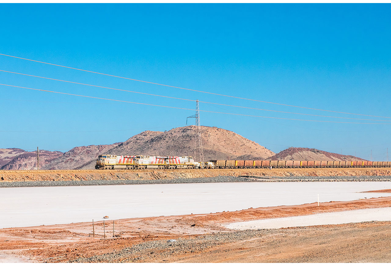 The Rio Tinto train travelling towards Karratha from the Burrup Peninsula