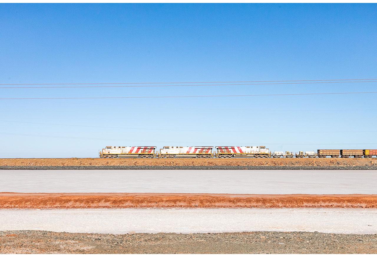 Horizontal and diagonal lines - Rio Tinto train on the causeway near Karratha in WA's Pilbara