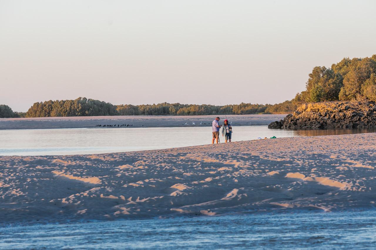 Fishing in Port Smith lagoon, Western Australia, at sunset