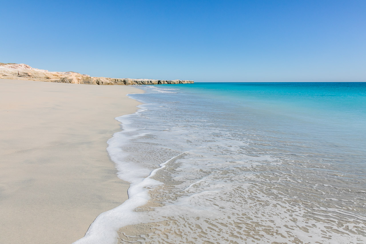 Miles of white sand and empty beaches on the Pilbara coast of Western Australia