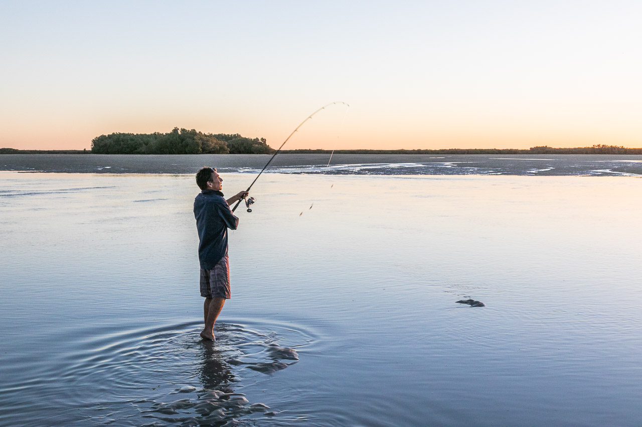 Casting a line at sunset in the Pilbara, WA