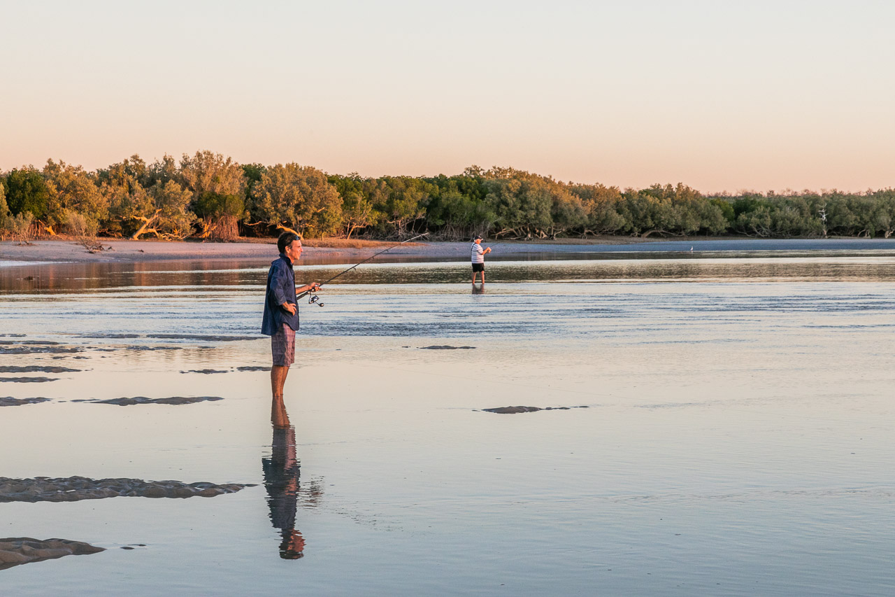 Fishing at sunset in the lagoon at Port Smith