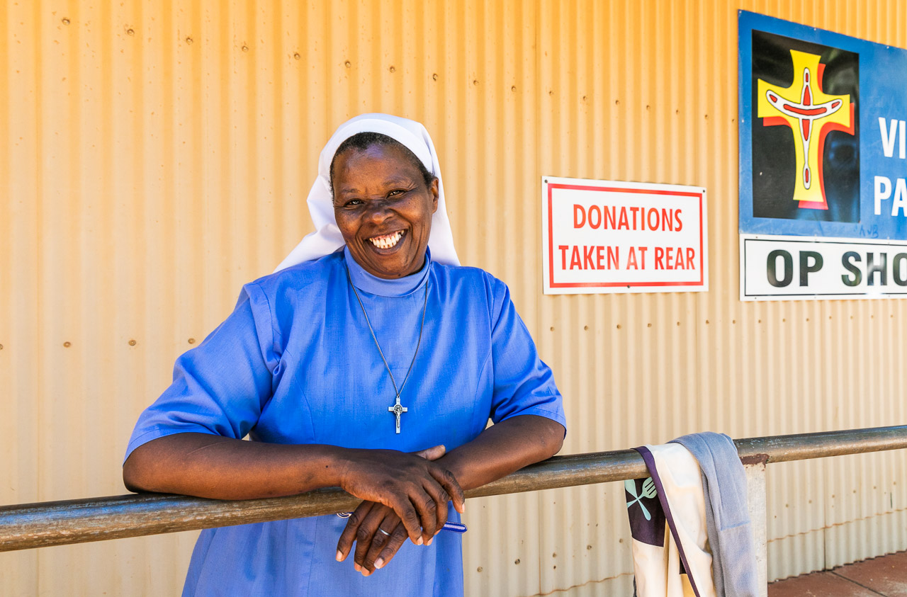Sister Mary at St Vincent Pallotti Op Shop in Broome