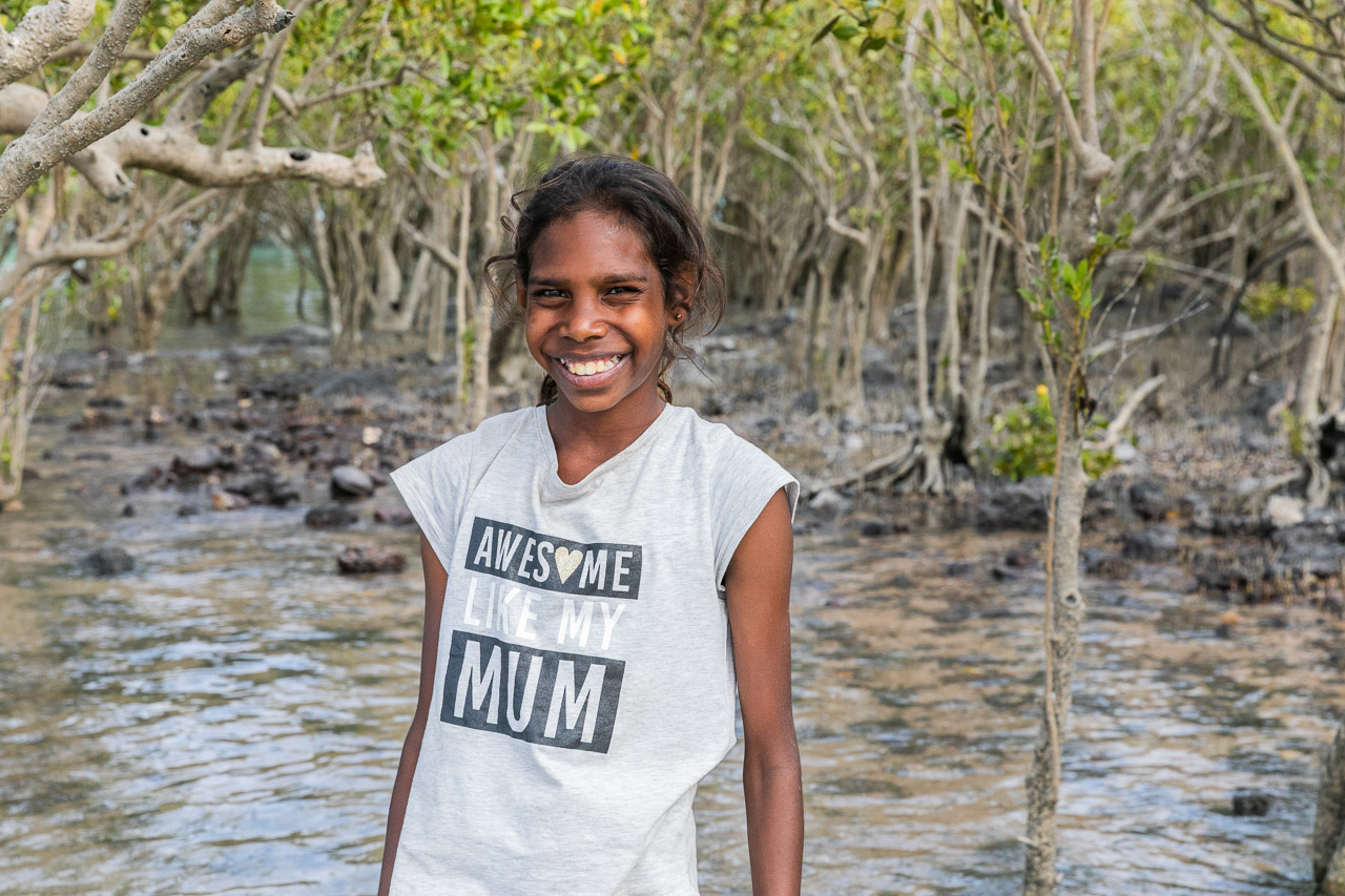 Indigenous girl in the mangroves