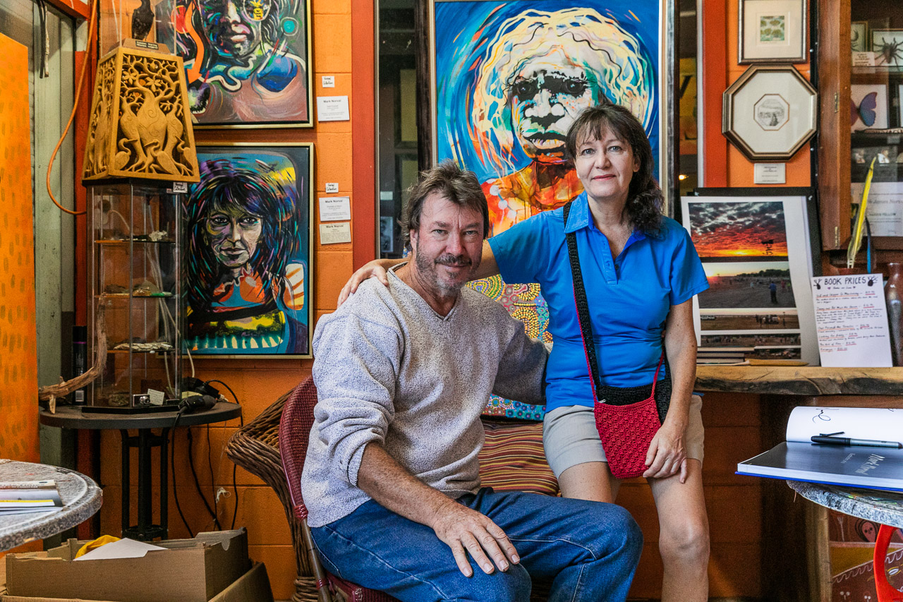 Artist Mark Norval and wife Mary in their incredible gallery in Derby, Western Australia