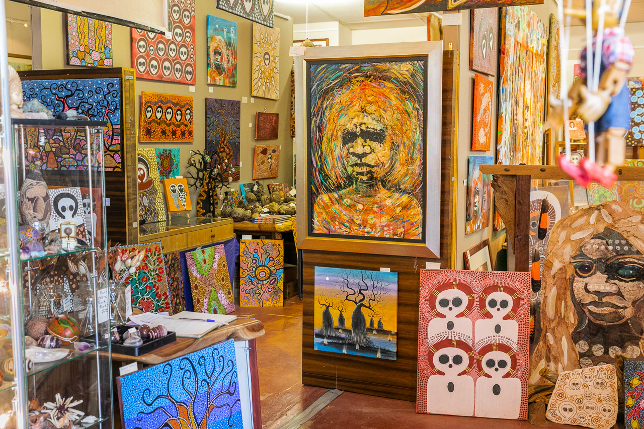 Interior of Mark Norval's Norval Gallery in Derby in WA's Kimberley