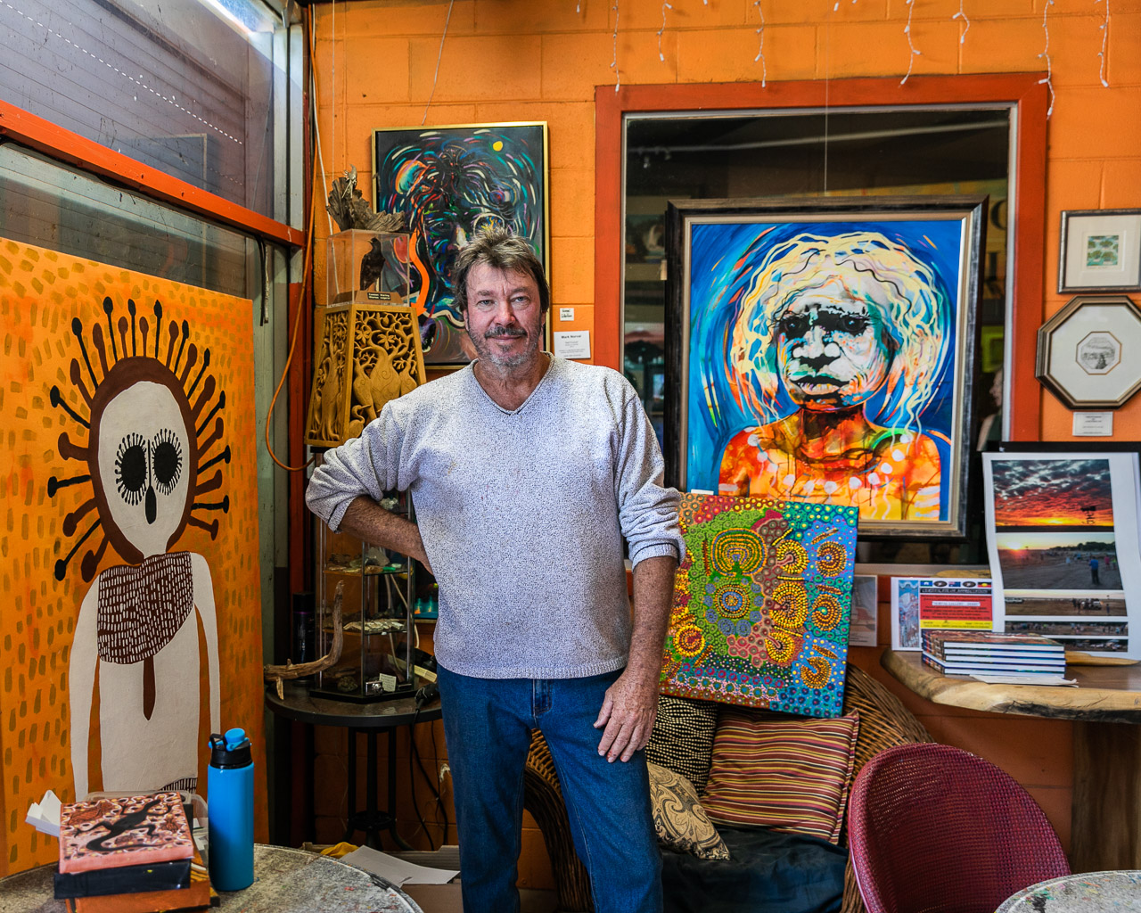 Artist Mark Norval at his gallery in Derby