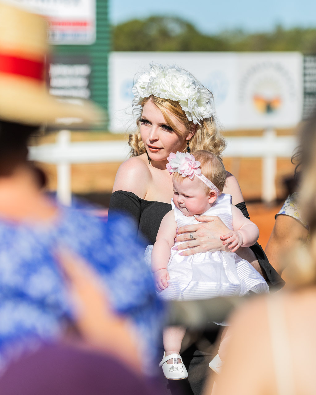 Mother and baby team in the Best Dressed competition at the Derby Races WA