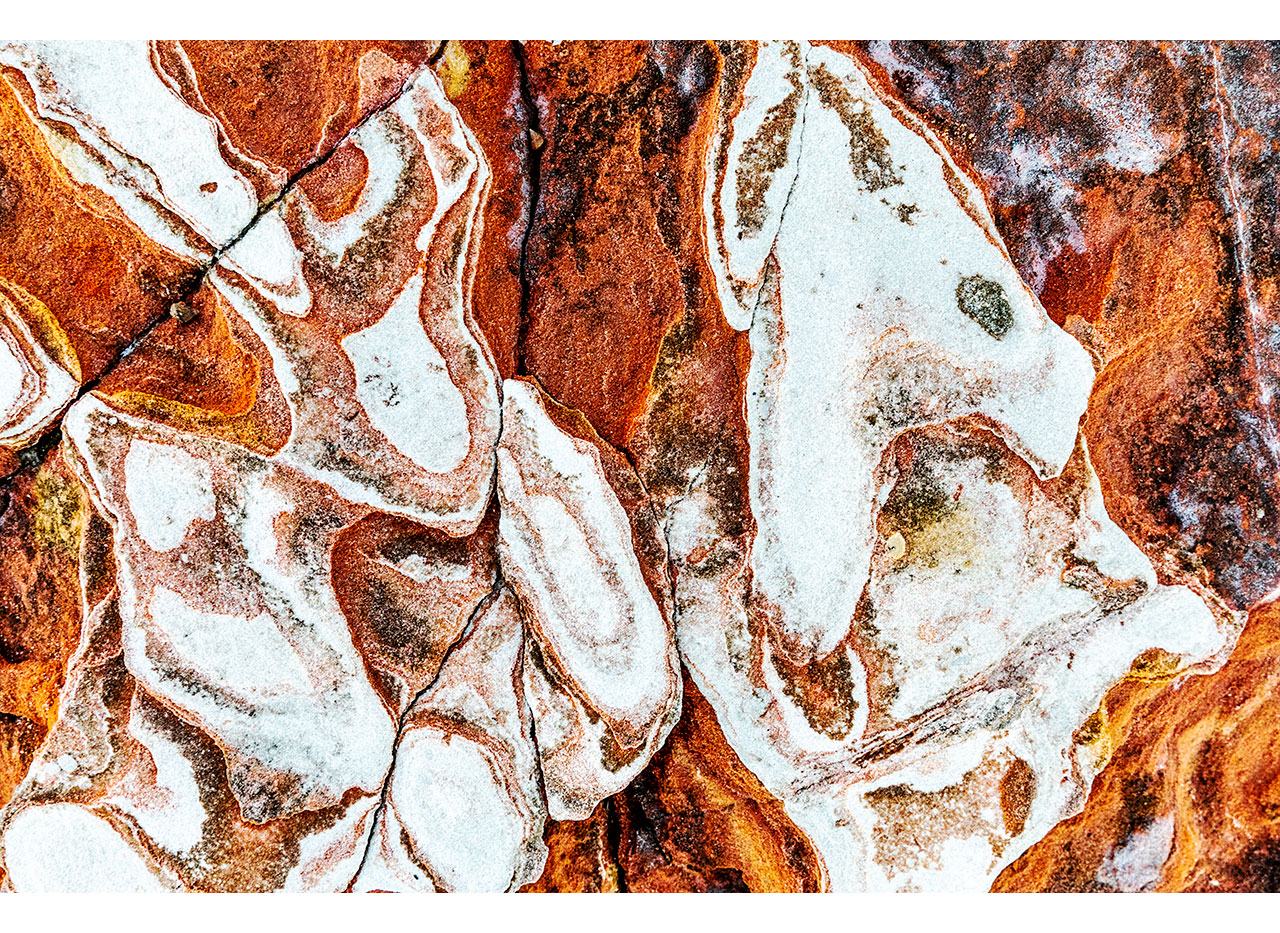 Strong graphic patterns in the rocks at Broome's Town Beach