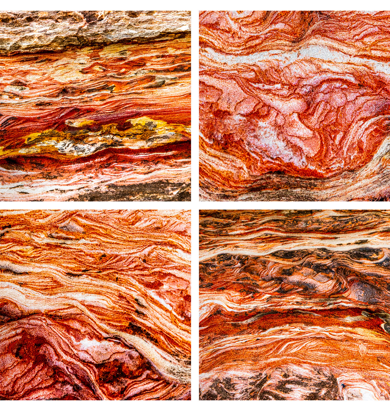 Montage of patterns found in the rocks at Town Beach in Broome, Western Australia