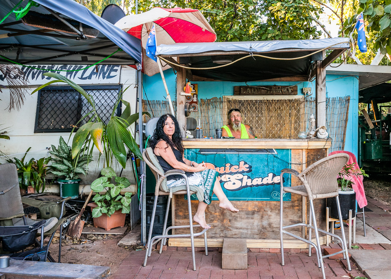 Chris and Karen - living life differently at their caravan park home in Broome