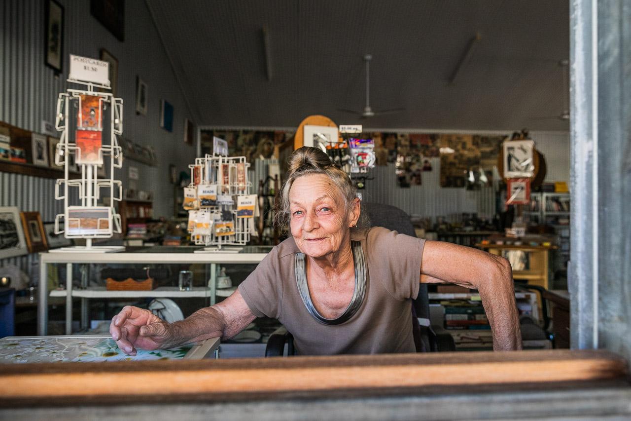 Pixie Ferguson at Pixie's Tin Shed in Wyndham Port, WA