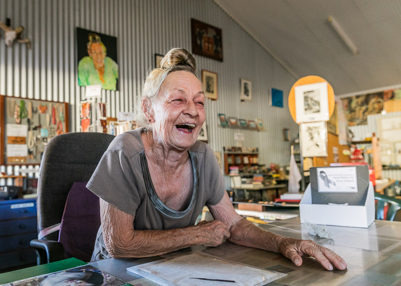 Always ready to laugh, Pixie in her Tin Shed in Wyndham in the far north Kimberley region of WA