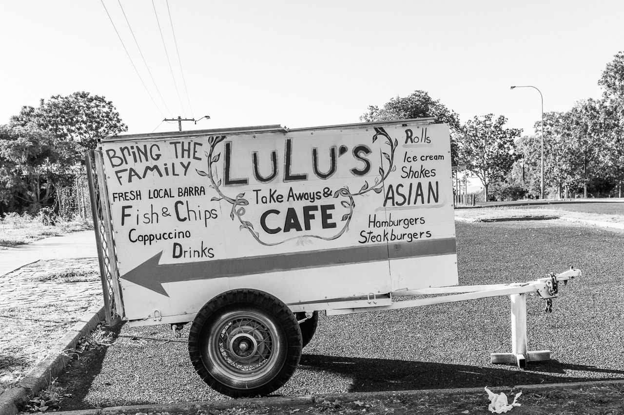 Lulu's cafe advertisement on the main street in Wyndham