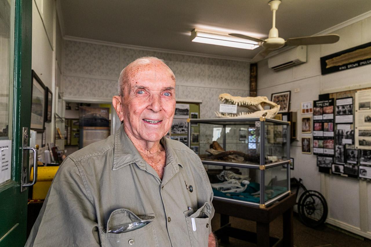 Volunteer, Dick at the Wyndham museum in the Kimberley