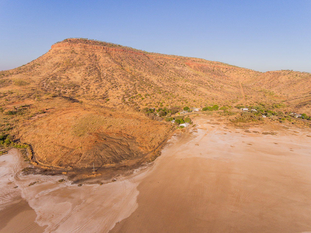 Drone image of the Gully and the mud flats in Wyndham Port in the Kimberley