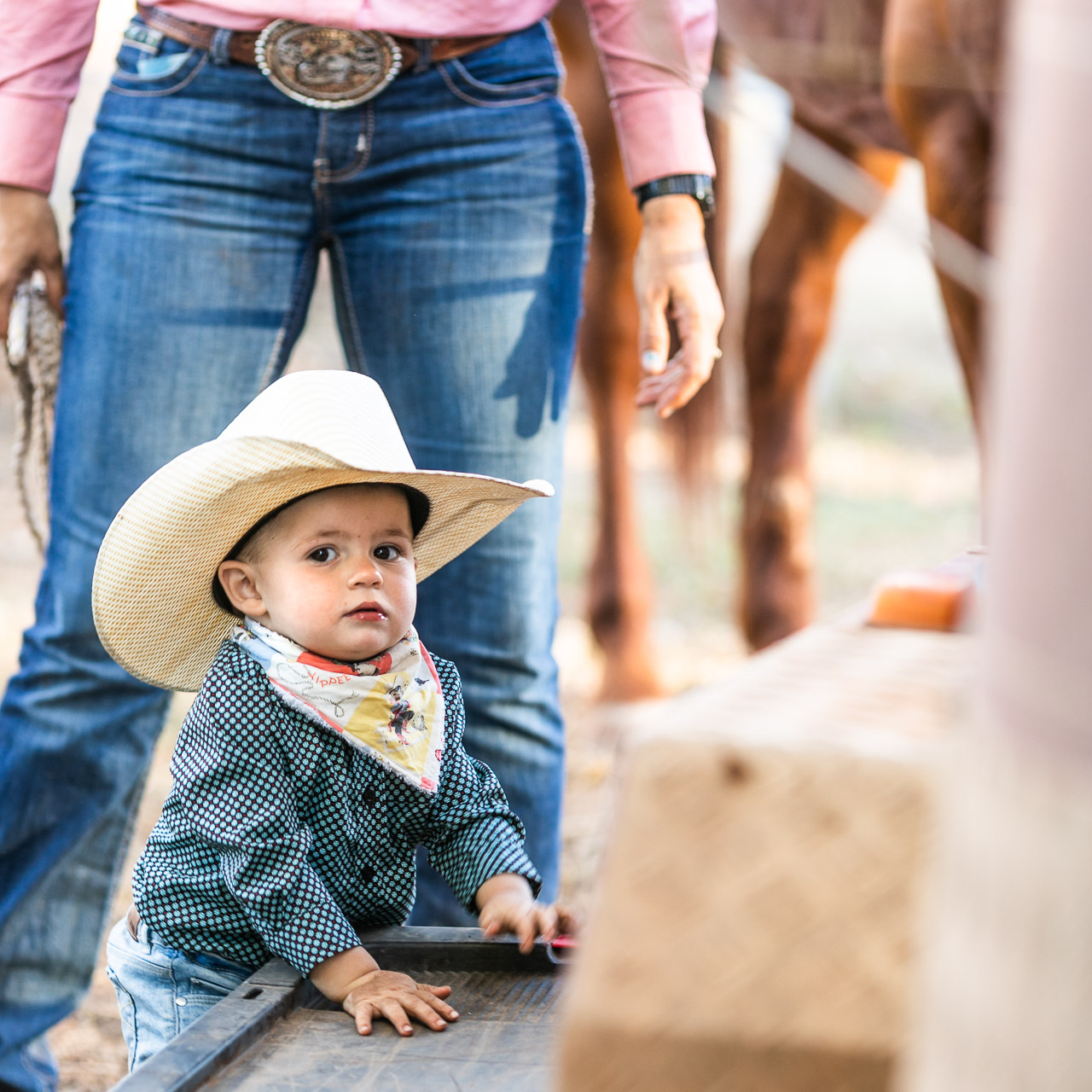 Baby dressed as a cowboy with his mum's legs and horse's legs behind him. Blue jeans and a big buckle.