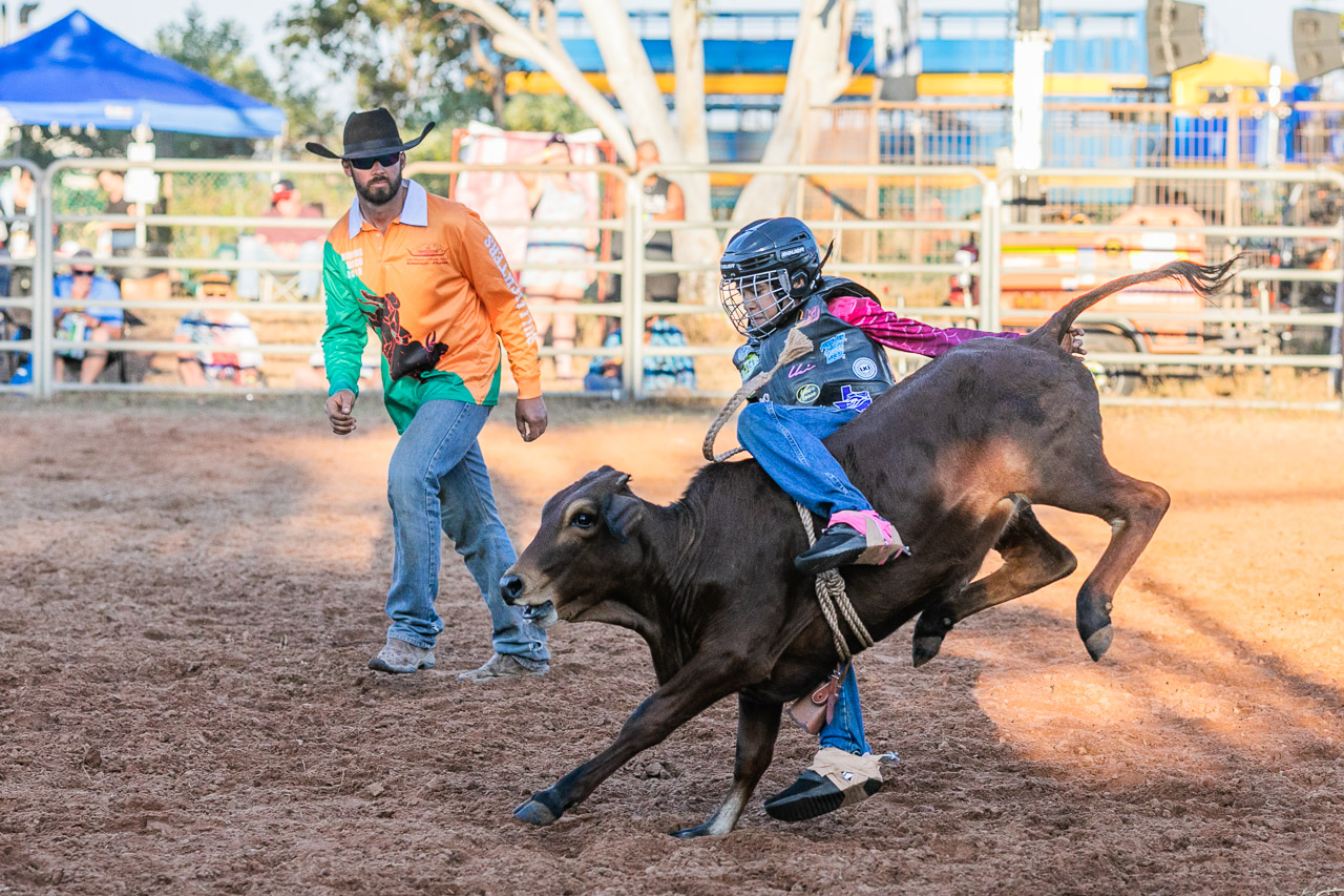 Young rodeo rider at the 2019 Broome Rodeo