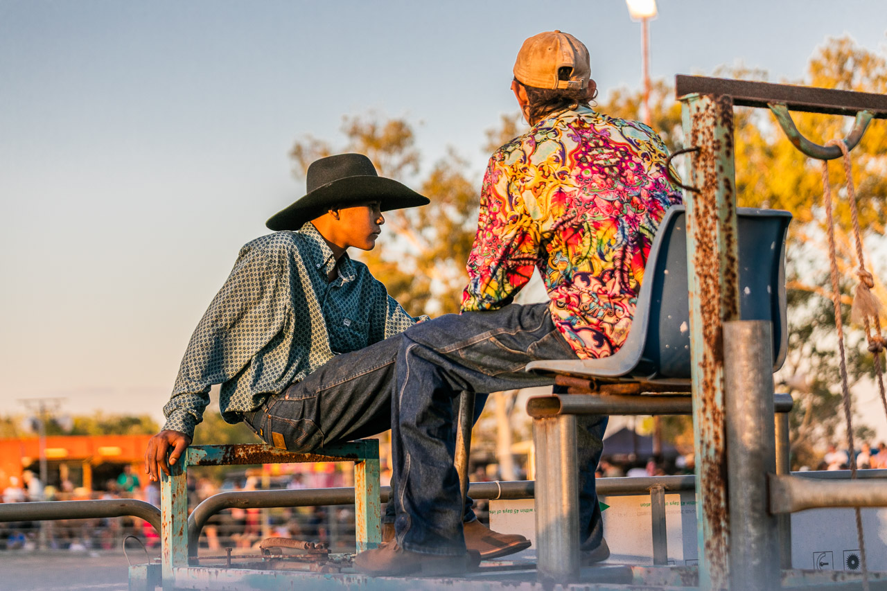 Bright shirts and cowboy hats at the Broome Rodeo 2019