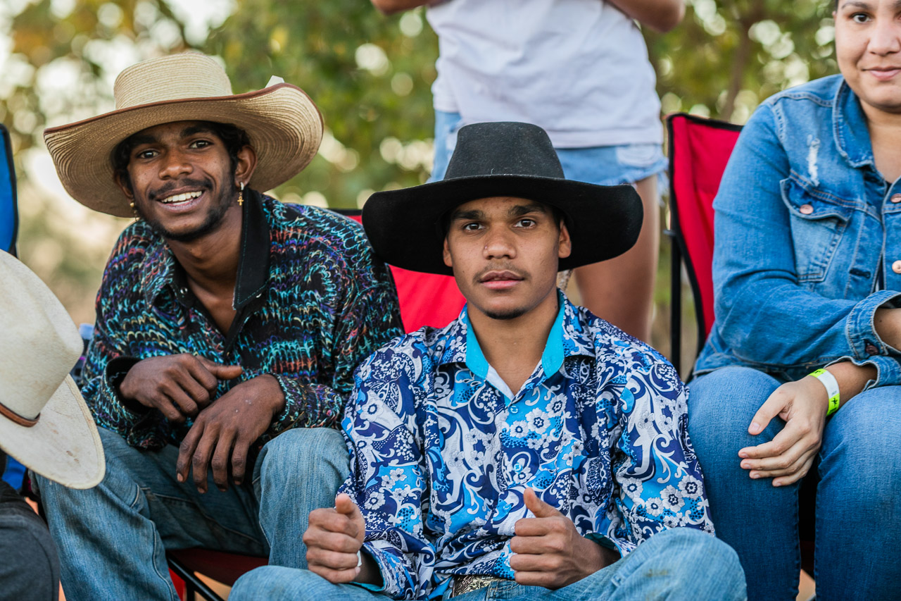 Young Aboriginal men at the Broome Rodeo 2019