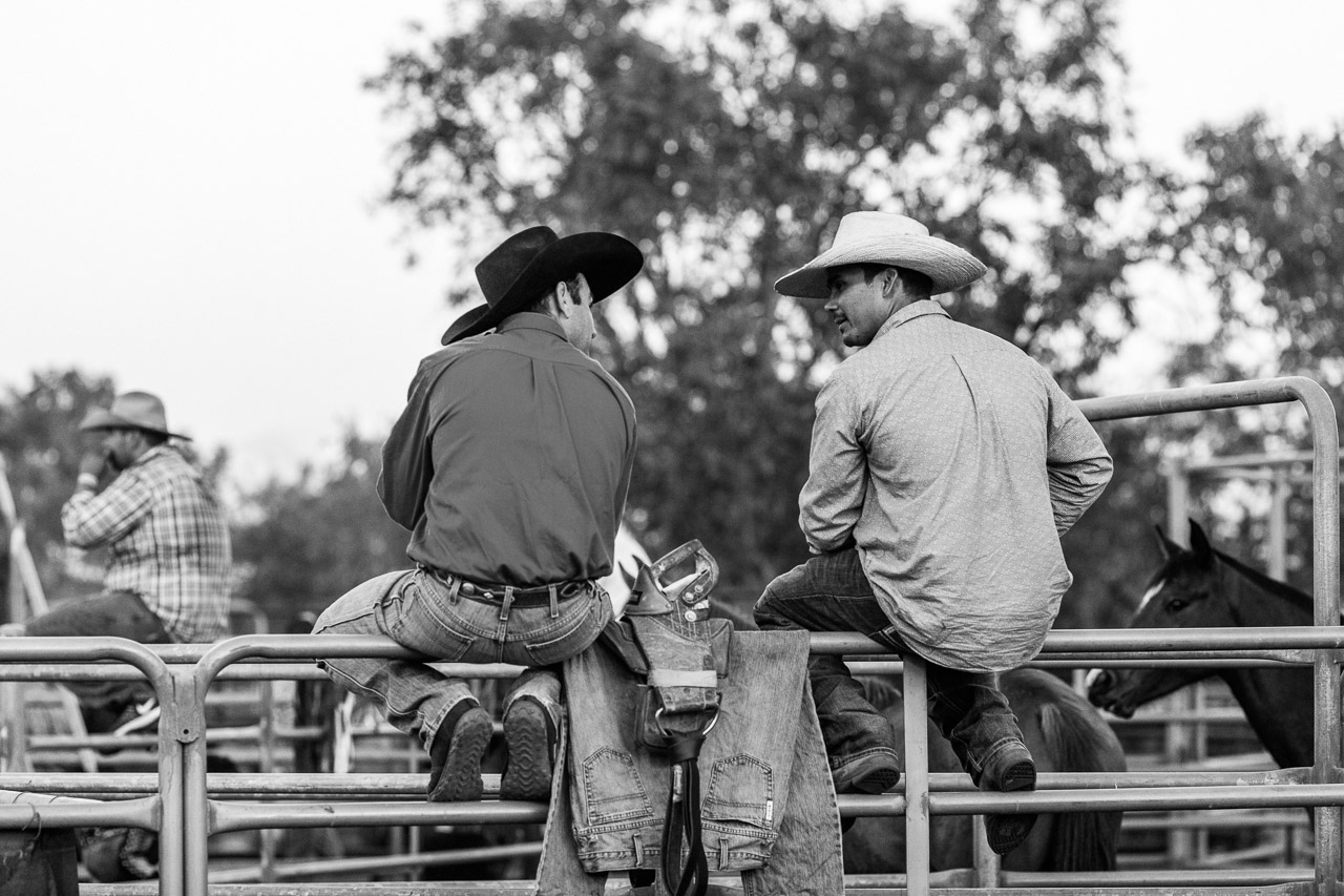 Two cowboys at the rodeo, sitting chatting on the railings
