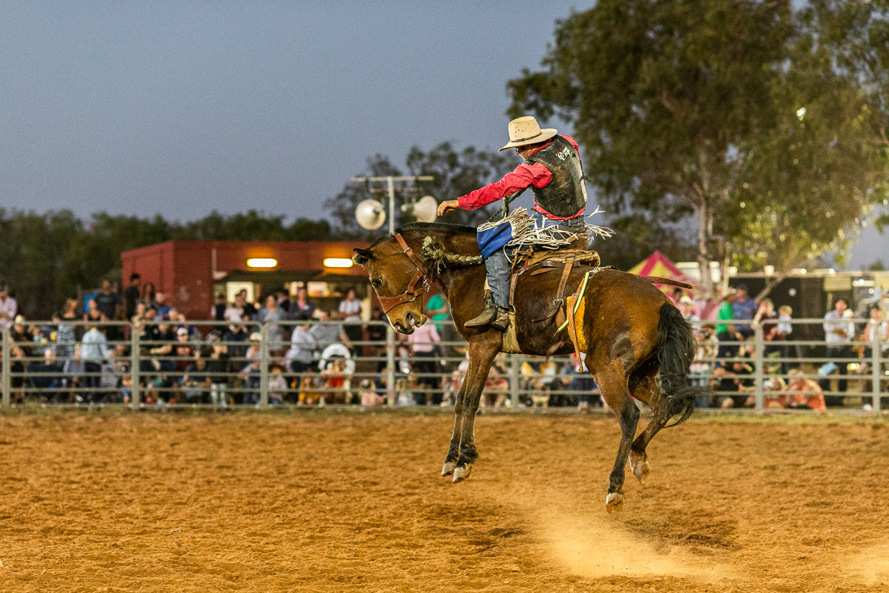 Airborne horse and cowboy at the Broome Rodeo 2019