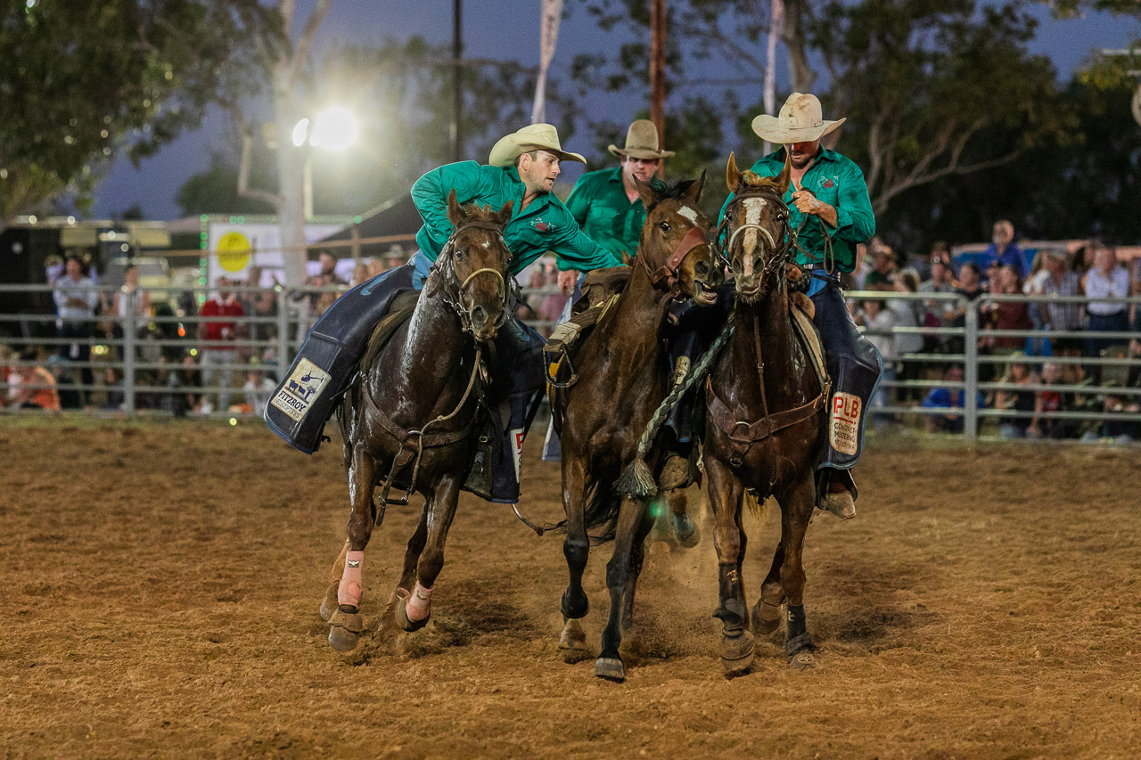 The wranglers doing their job at the Broome Rodeo