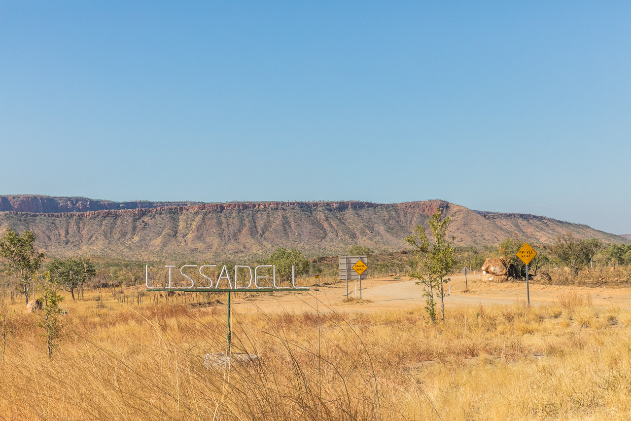 Lissadell Station sign on the road from Halls Creek to Kununurra