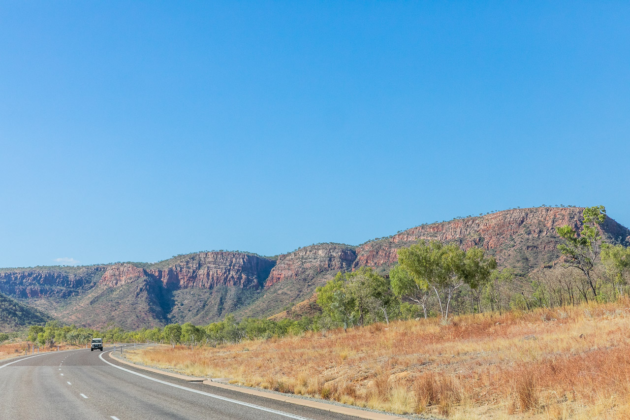 The scenic road between Halls Creek and Kununurra winds through the ranges