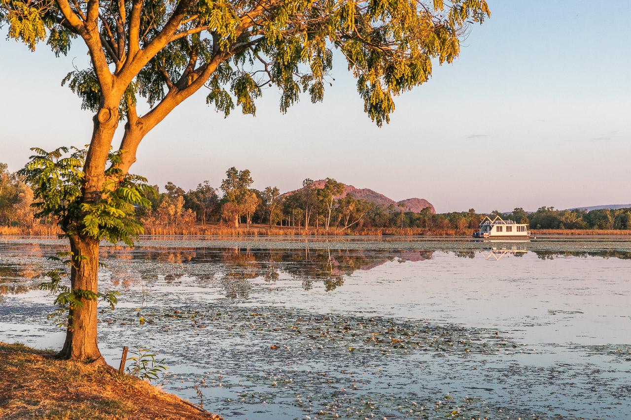 The lake beside the caravan park in Kununurra