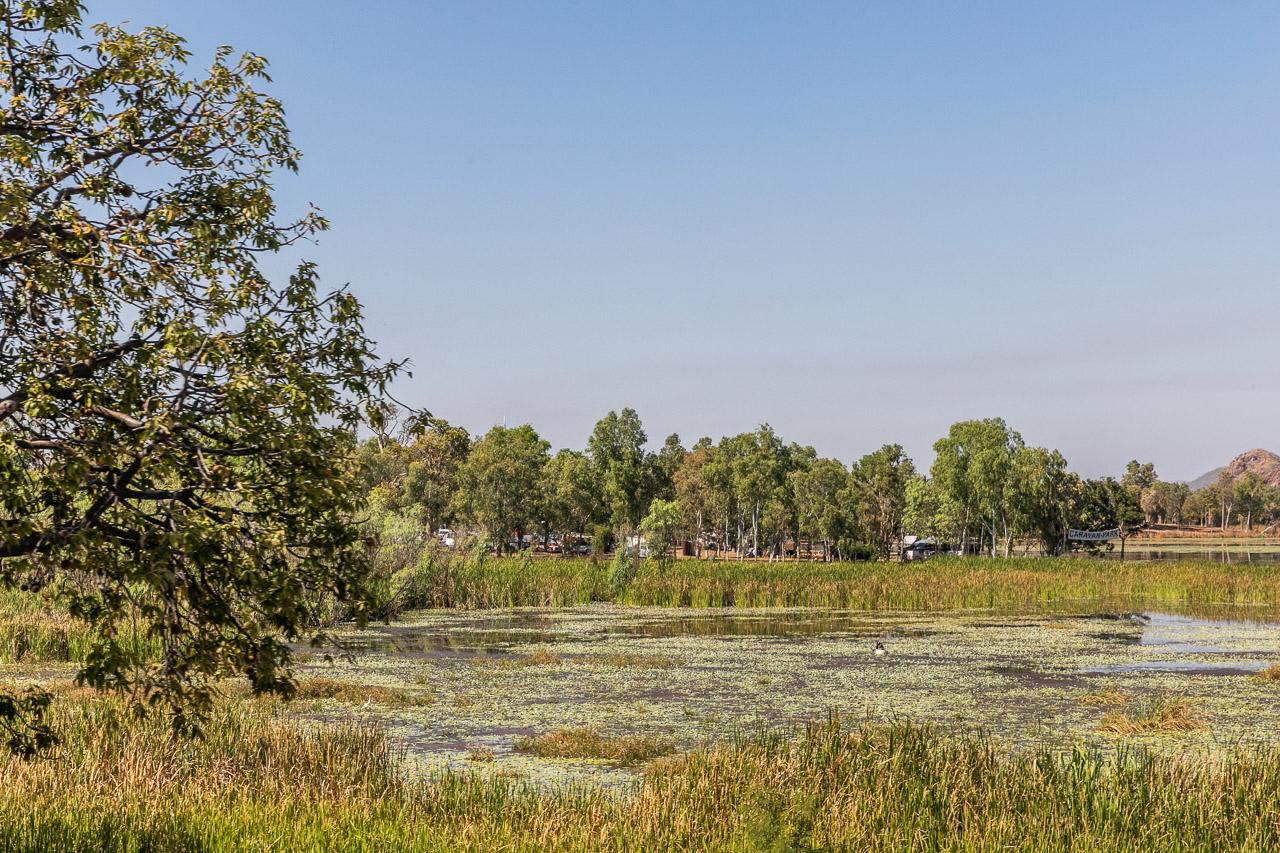 The picturesque lake in Kununurra beside the caravan park