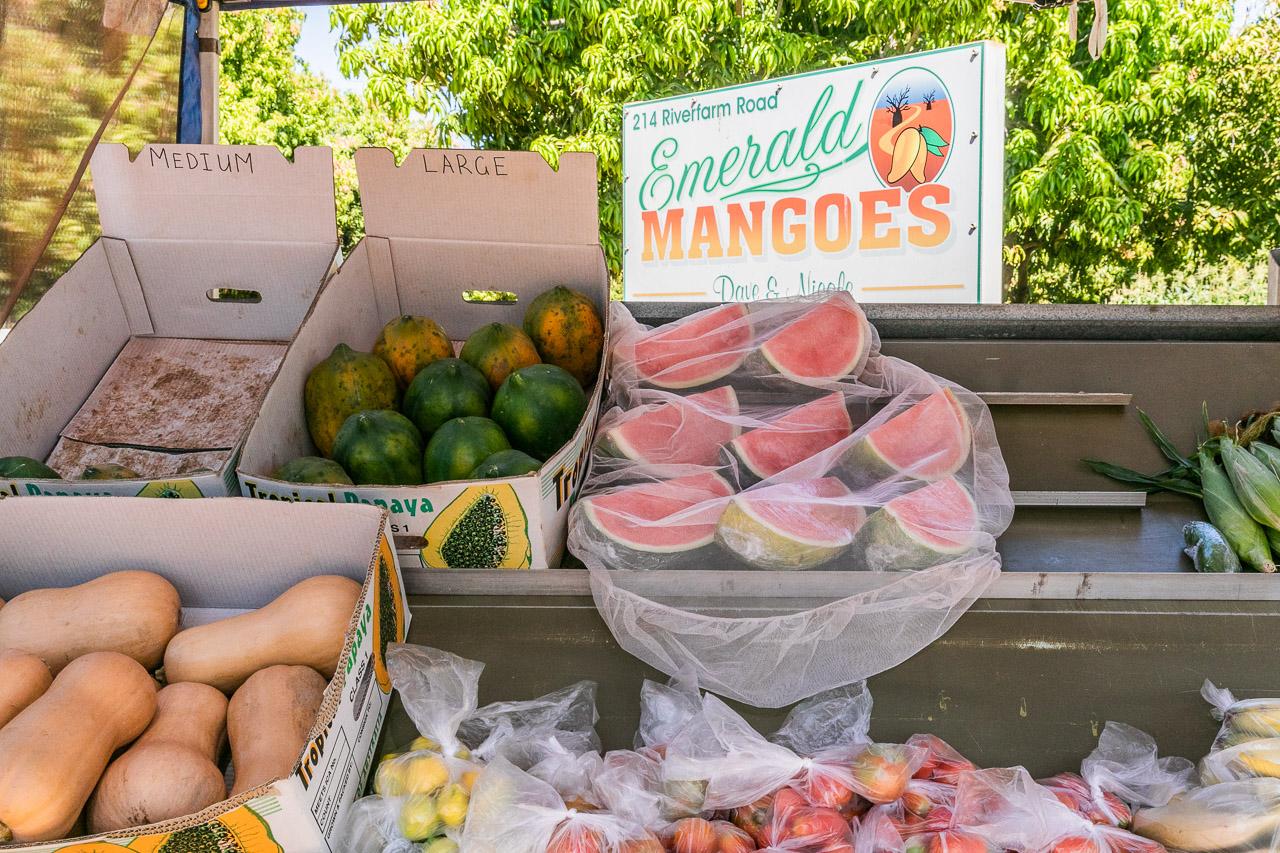 Roadside stall selling fresh fruit and vegetables in Kununurra