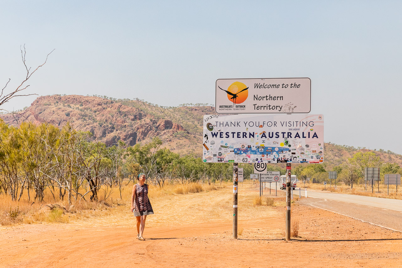 The border between Western Australia and the Northern Territory