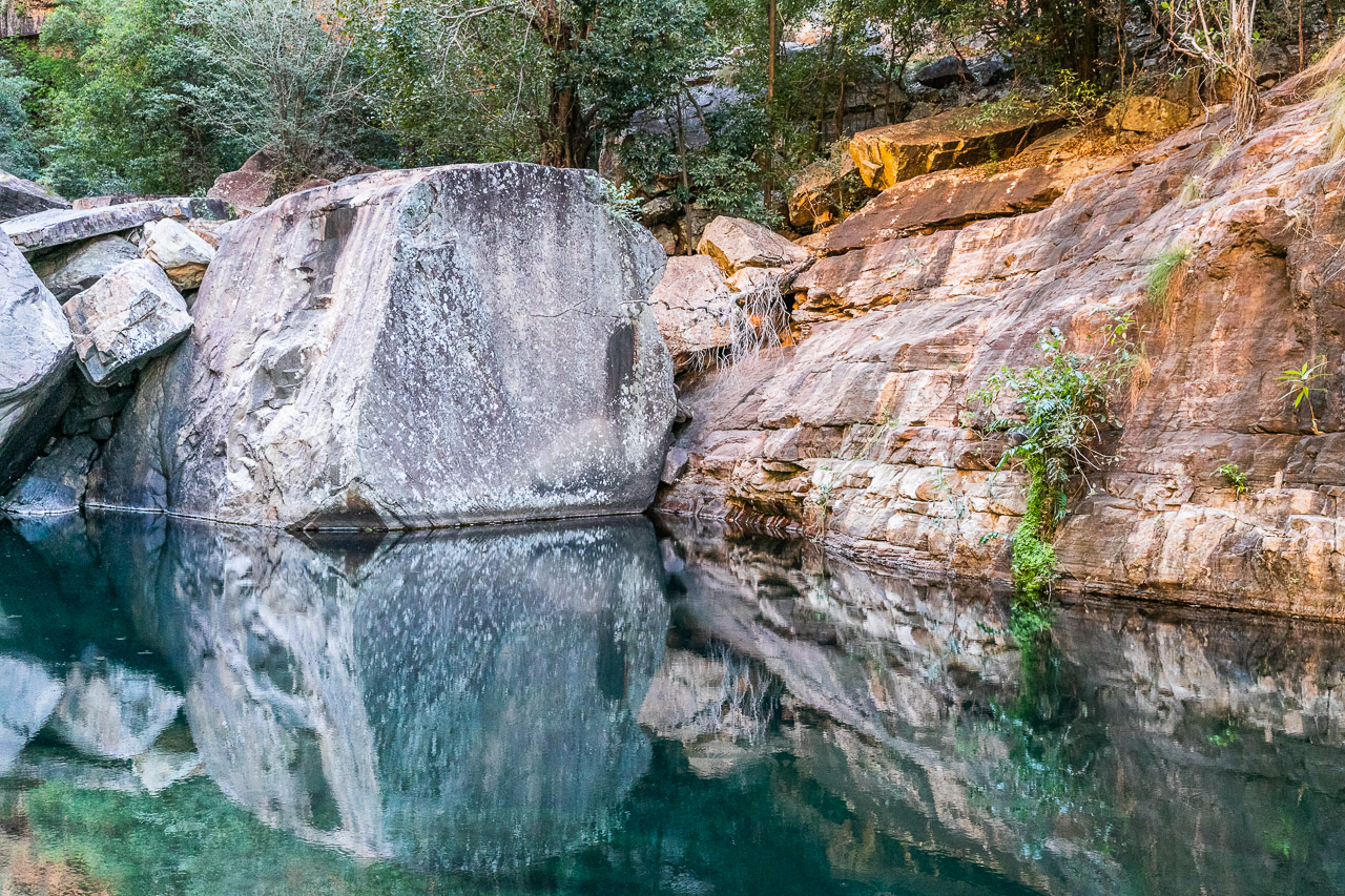 Rock reflections in a fresh water pool near Emma Gorge in the Kimberley
