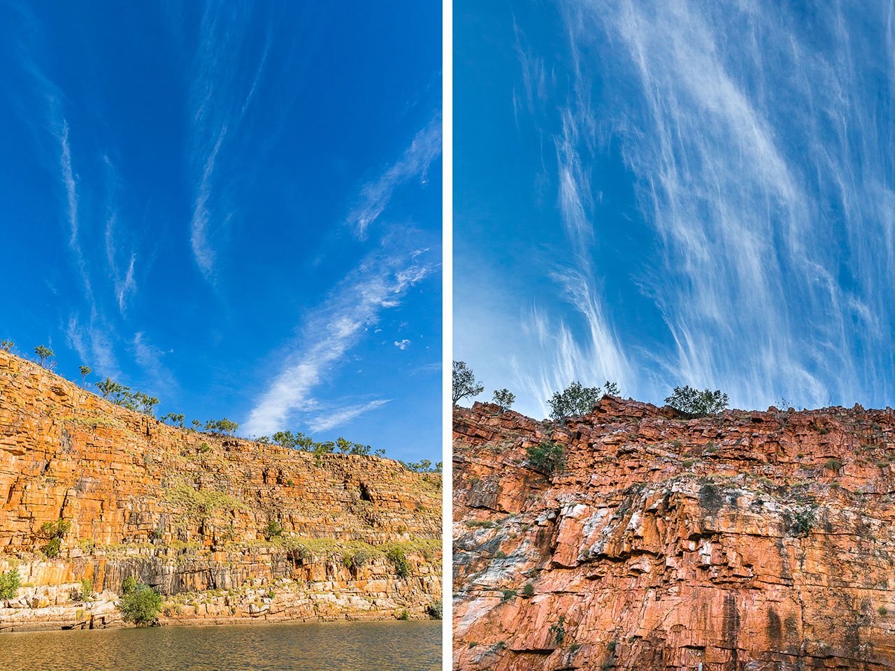 Red rocks at blue skies at Chamberlain Gorge on the Gibb River Road in Western Australia